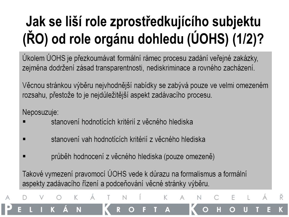 Jak se liší role zprostředkujícího subjektu (ŘO) od role orgánu dohledu (ÚOHS) (1/2).