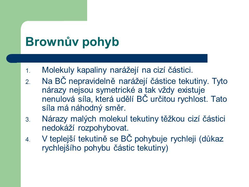 Brownův pohyb 1. Molekuly kapaliny narážejí na cizí částici. 2. Na BČ nepravidelně narážejí částice tekutiny. Tyto nárazy nejsou symetrické a tak vždy