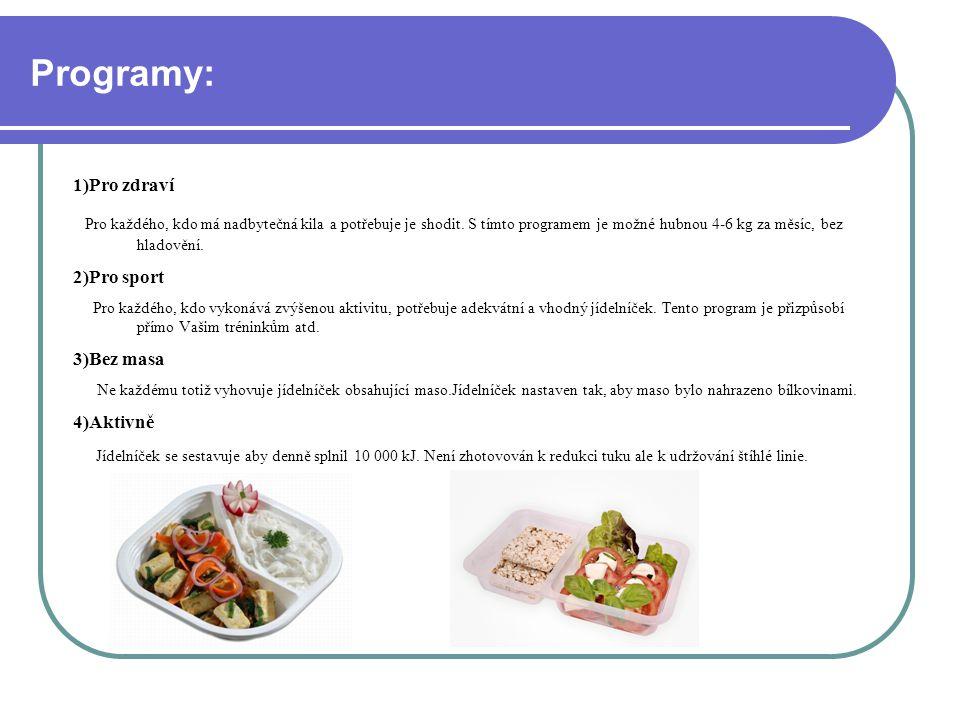 Programy: 1)Pro zdraví Pro každého, kdo má nadbytečná kila a potřebuje je shodit.