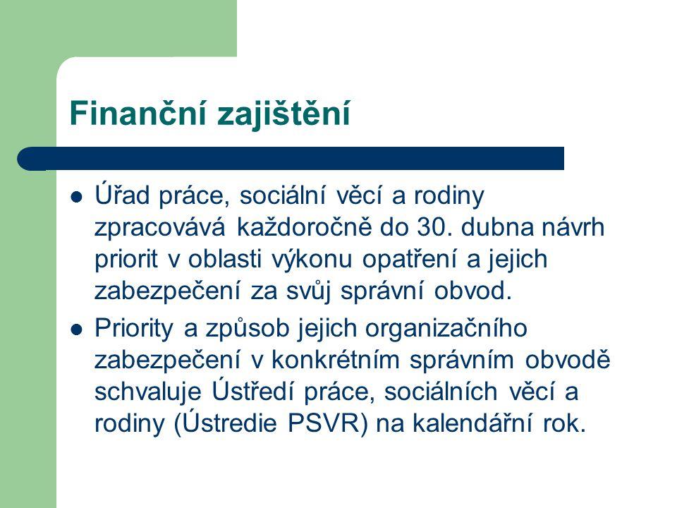 Finanční zajištění Úřad práce, sociální věcí a rodiny zpracovává každoročně do 30. dubna návrh priorit v oblasti výkonu opatření a jejich zabezpečení