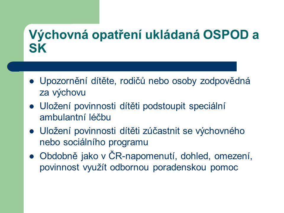 Výchovná opatření ukládaná OSPOD a SK Upozornění dítěte, rodičů nebo osoby zodpovědná za výchovu Uložení povinnosti dítěti podstoupit speciální ambula