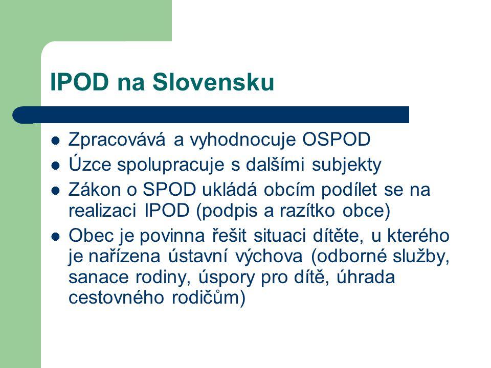 IPOD na Slovensku Zpracovává a vyhodnocuje OSPOD Úzce spolupracuje s dalšími subjekty Zákon o SPOD ukládá obcím podílet se na realizaci IPOD (podpis a