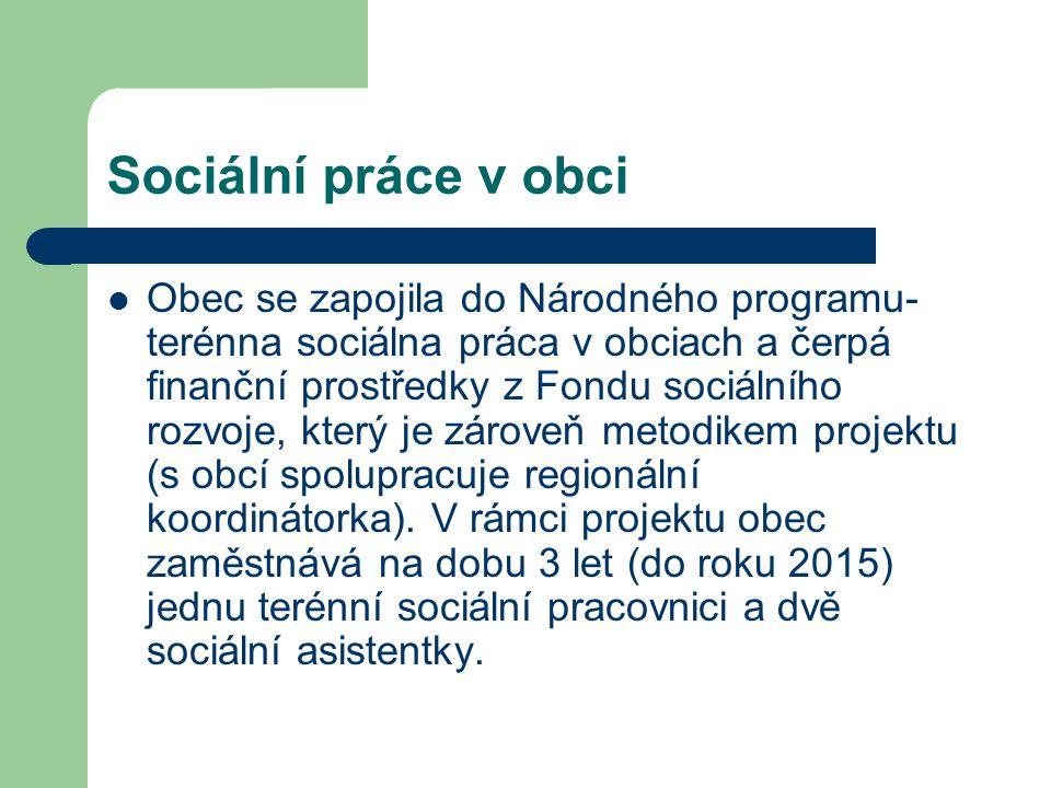 Sociální práce v obci Obec se zapojila do Národného programu- terénna sociálna práca v obciach a čerpá finanční prostředky z Fondu sociálního rozvoje,