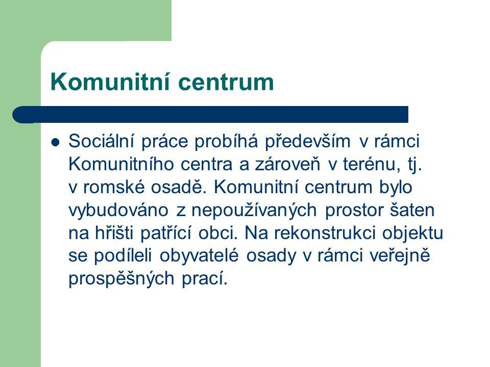 Komunitní centrum Sociální práce probíhá především v rámci Komunitního centra a zároveň v terénu, tj. v romské osadě. Komunitní centrum bylo vybudován