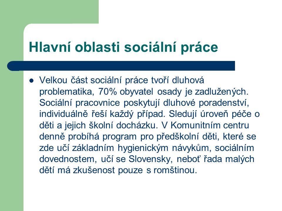 Hlavní oblasti sociální práce Velkou část sociální práce tvoří dluhová problematika, 70% obyvatel osady je zadlužených. Sociální pracovnice poskytují