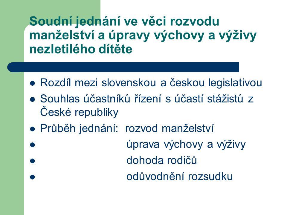 Soudní jednání ve věci rozvodu manželství a úpravy výchovy a výživy nezletilého dítěte Rozdíl mezi slovenskou a českou legislativou Souhlas účastníků