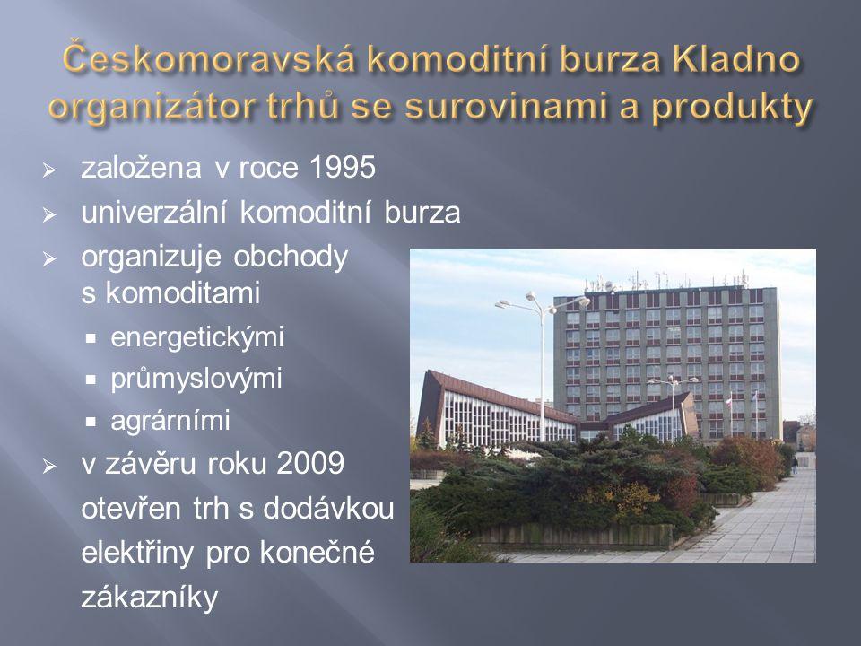  založena v roce 1995  univerzální komoditní burza  organizuje obchody s komoditami  energetickými  průmyslovými  agrárními  v závěru roku 2009 otevřen trh s dodávkou elektřiny pro konečné zákazníky