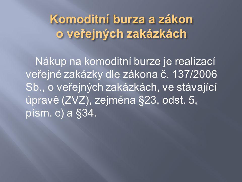 Nákup na komoditní burze je realizací veřejné zakázky dle zákona č.