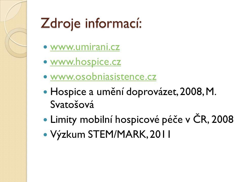Zdroje informací: www.umirani.cz www.hospice.cz www.osobniasistence.cz Hospice a umění doprovázet, 2008, M. Svatošová Limity mobilní hospicové péče v