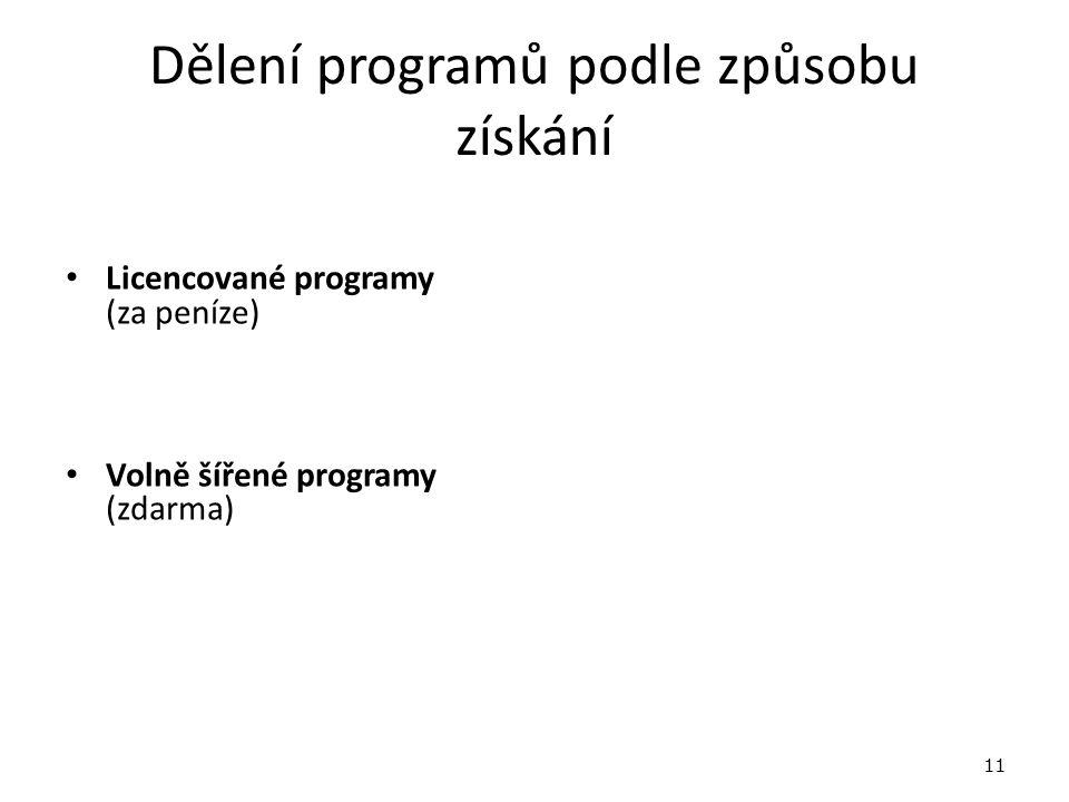 Dělení programů podle způsobu získání Licencované programy (za peníze) Volně šířené programy (zdarma) 11