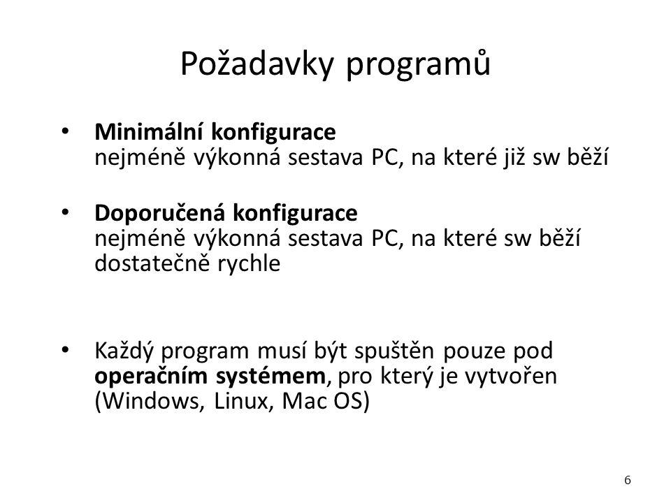 Požadavky programů Minimální konfigurace nejméně výkonná sestava PC, na které již sw běží Doporučená konfigurace nejméně výkonná sestava PC, na které sw běží dostatečně rychle Každý program musí být spuštěn pouze pod operačním systémem, pro který je vytvořen (Windows, Linux, Mac OS) 6