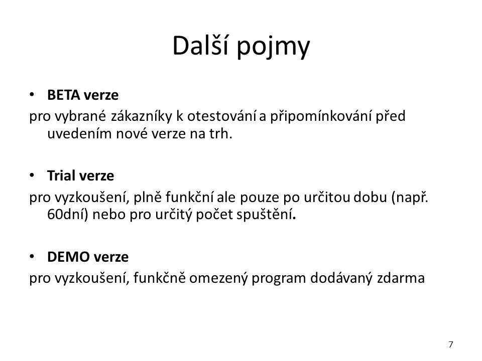 Národní verze Národní verze - vznikají lokalizací programu do příslušného jazyka (např.
