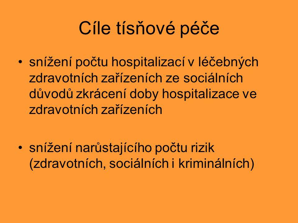 Cíle tísňové péče snížení počtu hospitalizací v léčebných zdravotních zařízeních ze sociálních důvodů zkrácení doby hospitalizace ve zdravotních zařízeních snížení narůstajícího počtu rizik (zdravotních, sociálních i kriminálních)