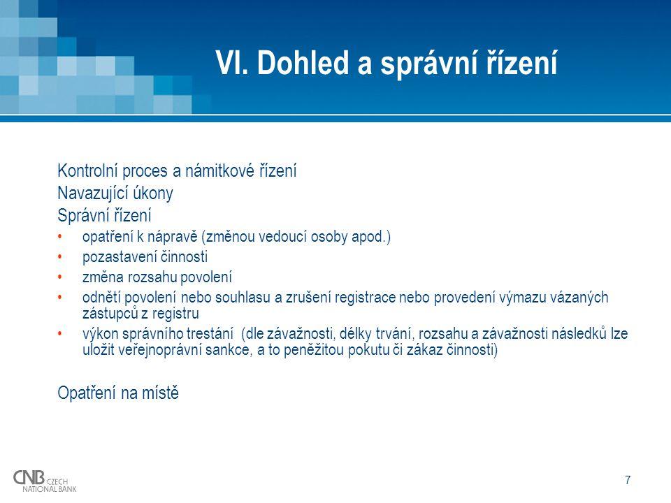 7 VI. Dohled a správní řízení Kontrolní proces a námitkové řízení Navazující úkony Správní řízení opatření k nápravě (změnou vedoucí osoby apod.) poza