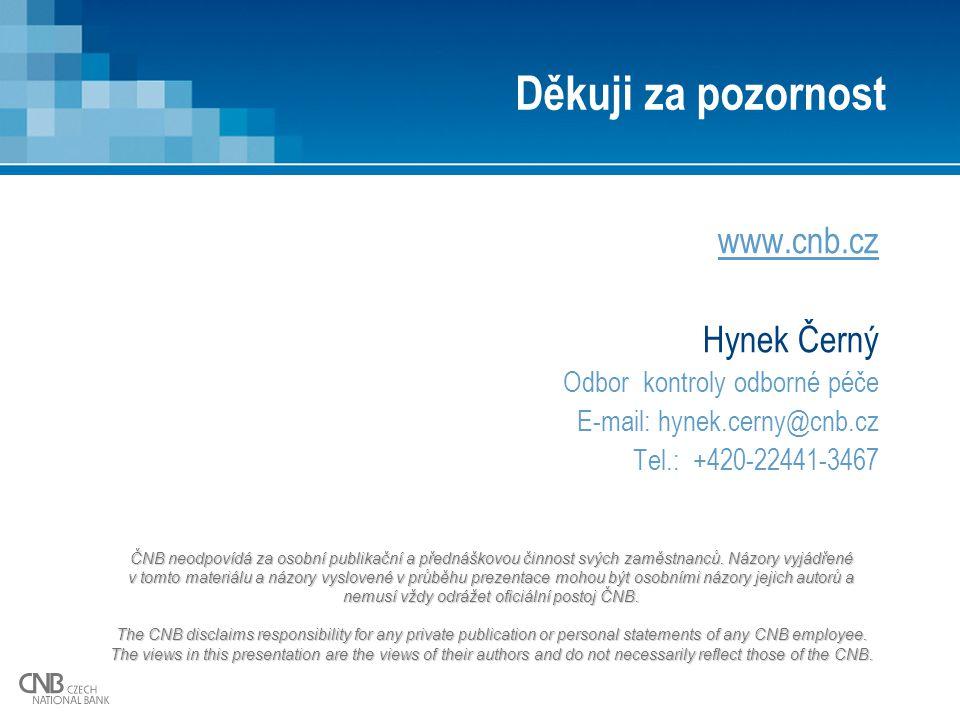 Děkuji za pozornost www.cnb.cz Hynek Černý Odbor kontroly odborné péče E-mail: hynek.cerny@cnb.cz Tel.: +420-22441-3467 ČNB neodpovídá za osobní publi