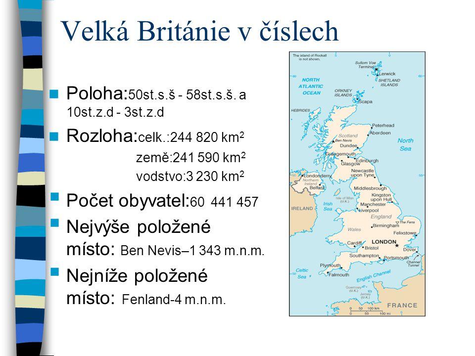 Velká Británie v číslech Poloha: 50st.s.š - 58st.s.š.