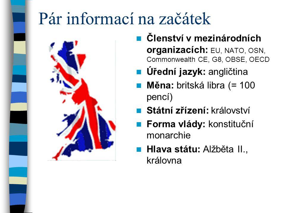 Správní členění 4státy: Anglie (Londýn), Walesu (Cardiff), Skotska (Edinburg) a Severního Irska (Belfast).