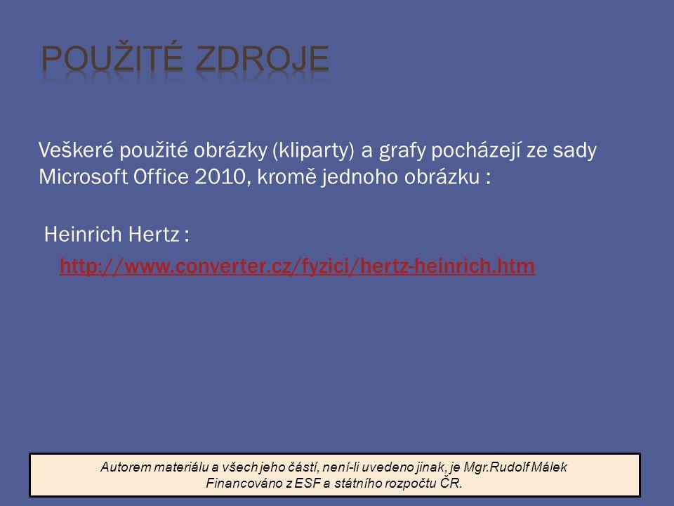 Veškeré použité obrázky (kliparty) a grafy pocházejí ze sady Microsoft Office 2010, kromě jednoho obrázku : Autorem materiálu a všech jeho částí, není