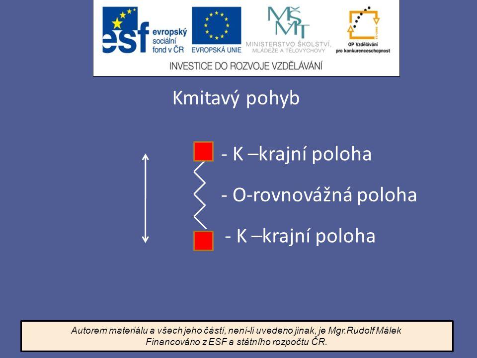 Kmitavý pohyb - K –krajní poloha - O-rovnovážná poloha Autorem materiálu a všech jeho částí, není-li uvedeno jinak, je Mgr.Rudolf Málek Financováno z