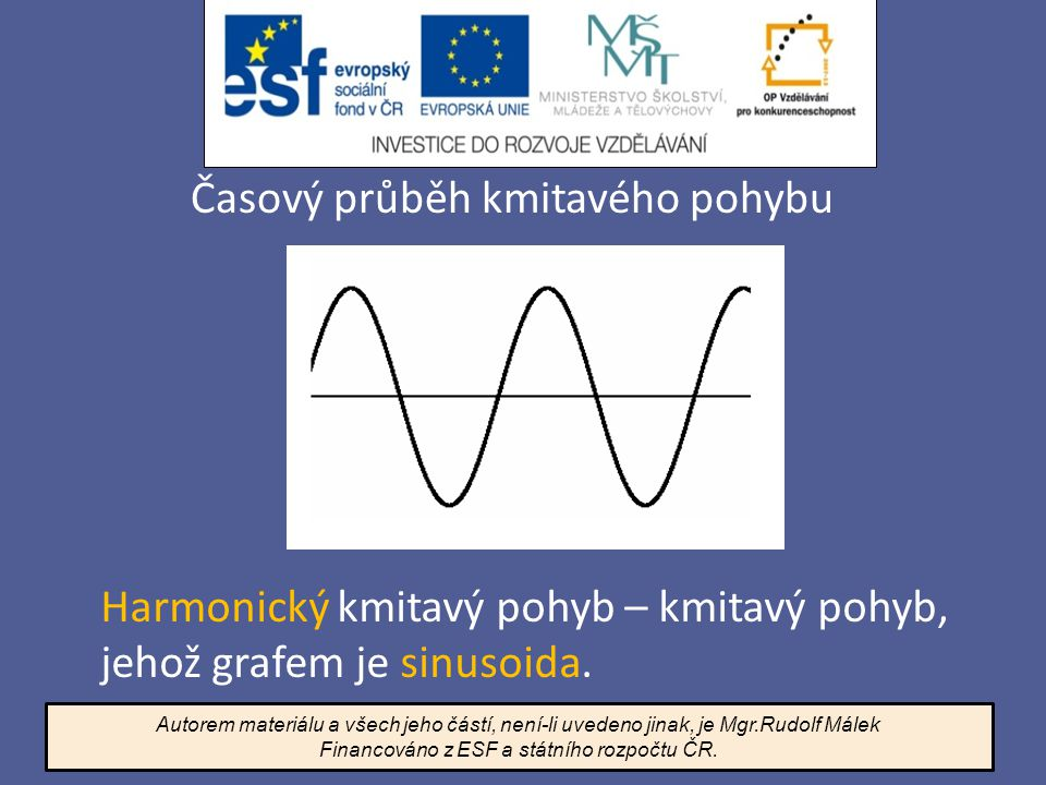 Časový průběh kmitavého pohybu Harmonický kmitavý pohyb – kmitavý pohyb, jehož grafem je sinusoida. Autorem materiálu a všech jeho částí, není-li uved
