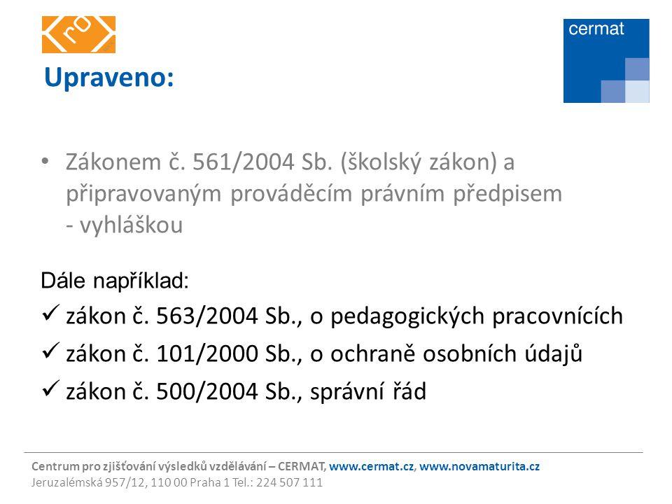 Centrum pro zjišťování výsledků vzdělávání – CERMAT, www.cermat.cz, www.novamaturita.cz Jeruzalémská 957/12, 110 00 Praha 1 Tel.: 224 507 111 Realizační model Zakotven v novele školského zákona (č.