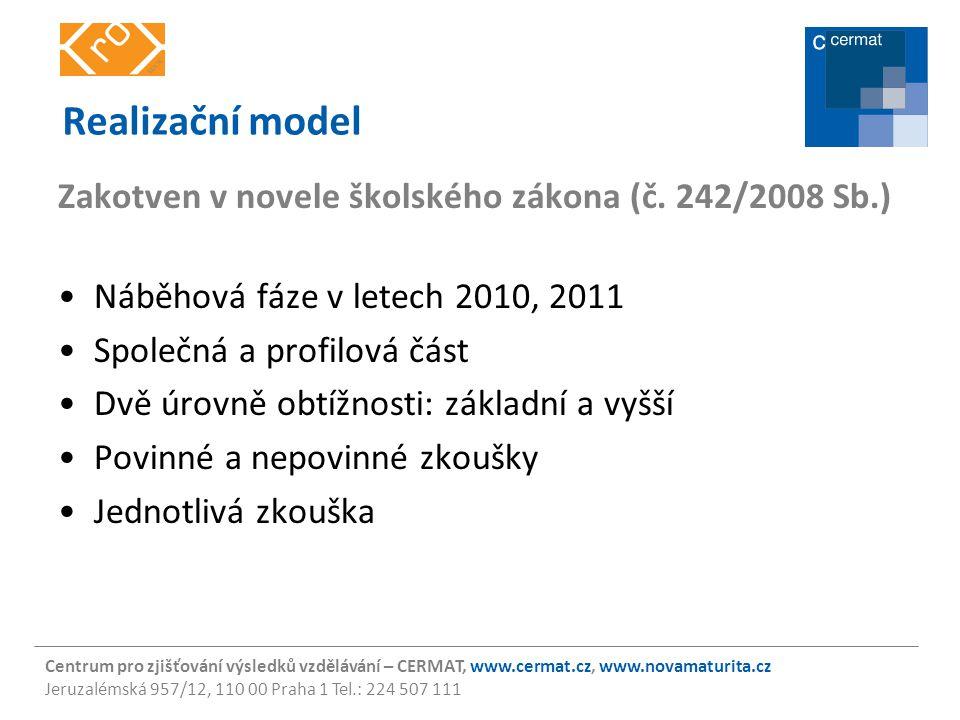 Centrum pro zjišťování výsledků vzdělávání – CERMAT, www.cermat.cz, www.novamaturita.cz Jeruzalémská 957/12, 110 00 Praha 1 Tel.: 224 507 111 Náběhová fáze pro školní roky 2009/10 a 2010/11 Povinné zkoušky (Z/V): ČJL a MA, nebo ČJL a CJ Nepovinné zkoušky: –český jazyk a literatura (V), –cizí jazyk: anglický jazyk, francouzský jazyk, německý jazyk, španělský jazyk a ruský jazyk (Z/V), –matematika (Z/V), –občanský a společenskovědní základ (V), –biologie, –fyzika, –chemie, –dějepis, –zeměpis, –dějiny umění.
