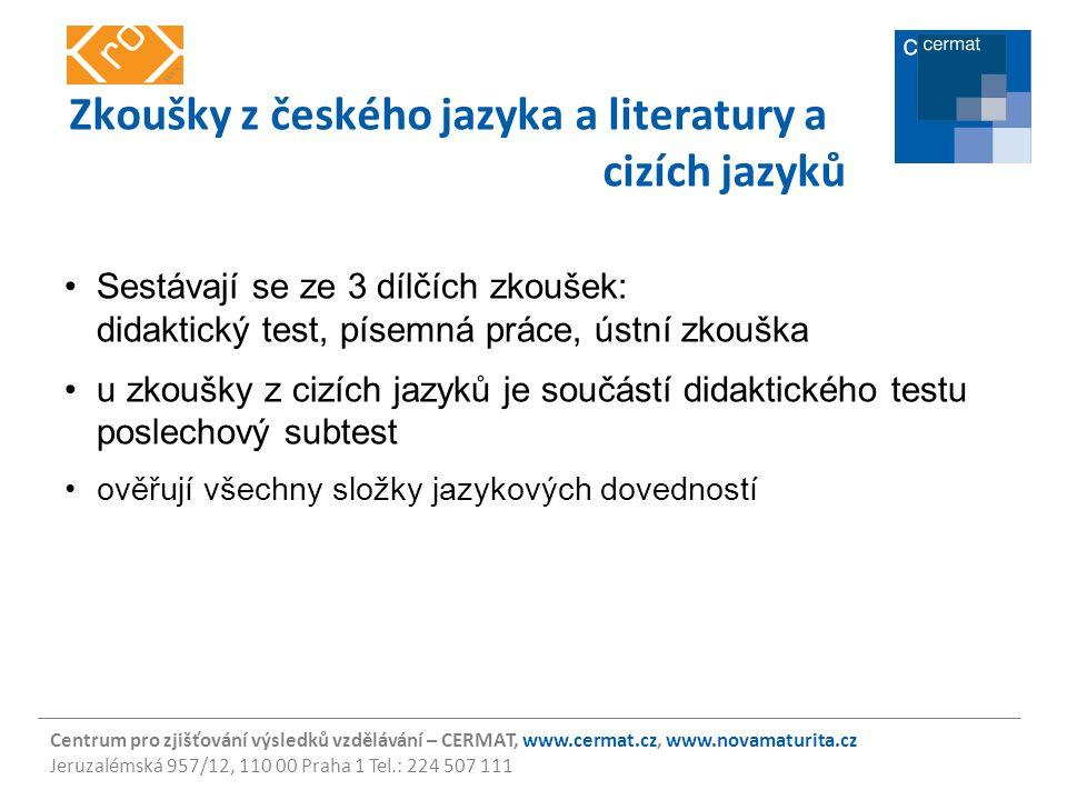 Centrum pro zjišťování výsledků vzdělávání – CERMAT, www.cermat.cz, www.novamaturita.cz Jeruzalémská 957/12, 110 00 Praha 1 Tel.: 224 507 111 Zkoušky
