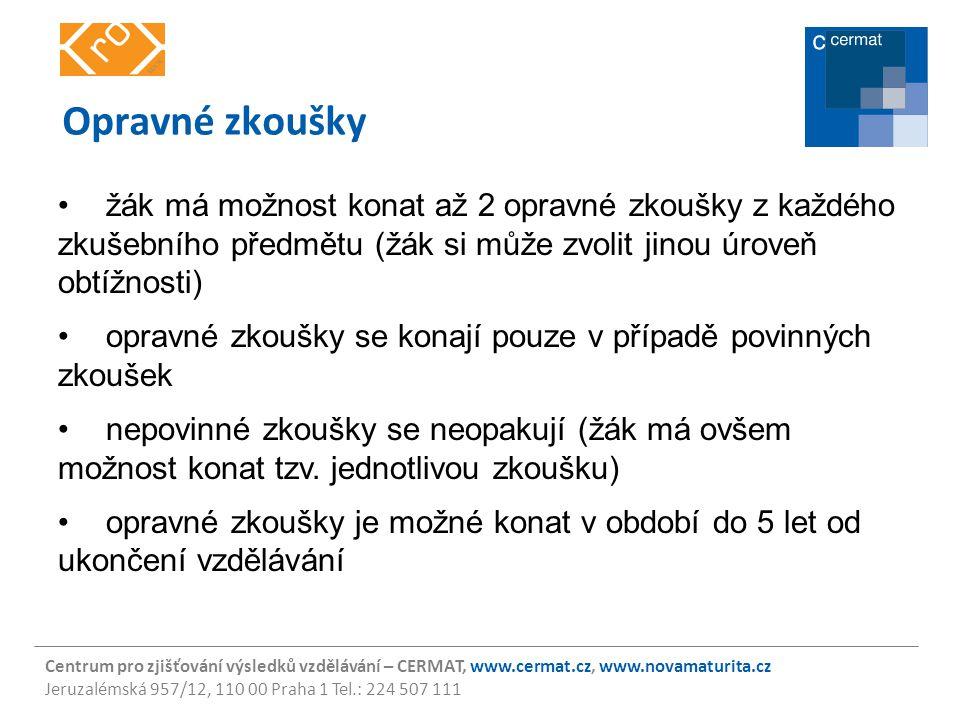 Centrum pro zjišťování výsledků vzdělávání – CERMAT, www.cermat.cz, www.novamaturita.cz Jeruzalémská 957/12, 110 00 Praha 1 Tel.: 224 507 111 Opravné