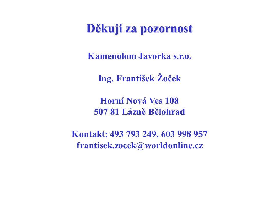 Děkuji za pozornost Kamenolom Javorka s.r.o. Ing. František Žoček Horní Nová Ves 108 507 81 Lázně Bělohrad Kontakt: 493 793 249, 603 998 957 frantisek