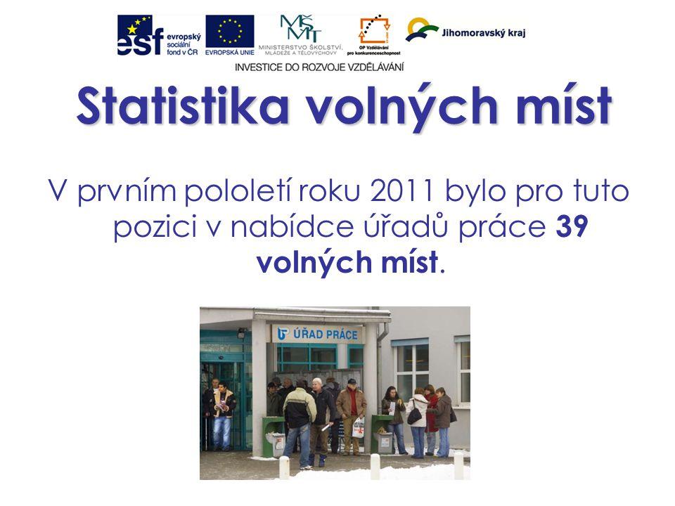Statistika volných míst V prvním pololetí roku 2011 bylo pro tuto pozici v nabídce úřadů práce 39 volných míst.