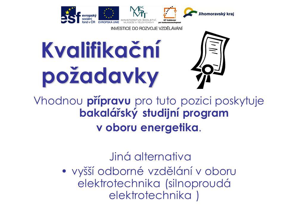Kvalifikační požadavky Vhodnou přípravu pro tuto pozici poskytuje bakalářský studijní program v oboru energetika.