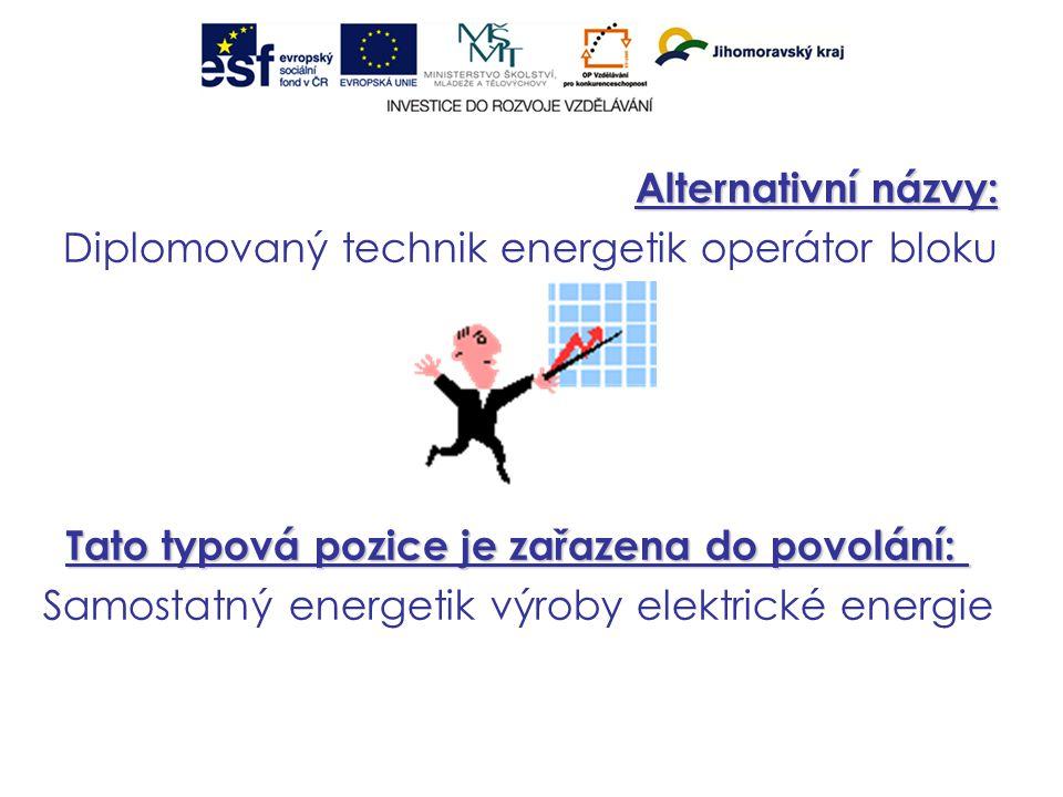 Alternativní názvy: Diplomovaný technik energetik operátor bloku Tato typová pozice je zařazena do povolání: Tato typová pozice je zařazena do povolání: Samostatný energetik výroby elektrické energie