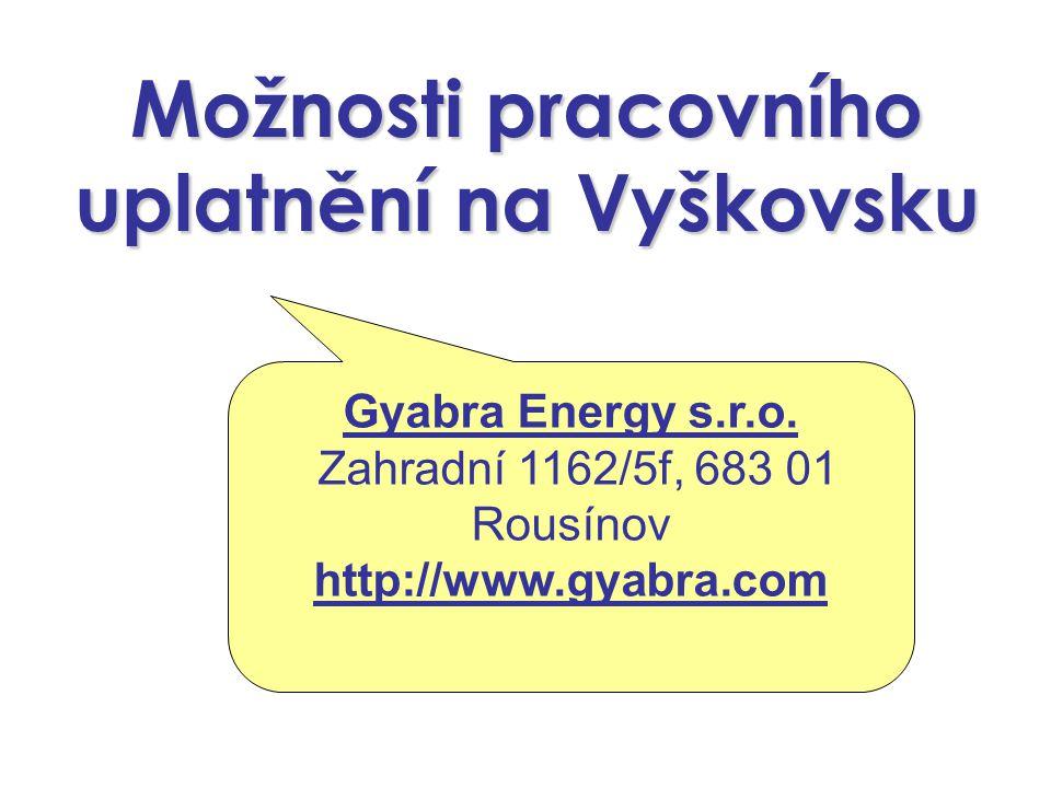 Možnosti pracovního uplatnění na Vyškovsku Gyabra Energy s.r.o.