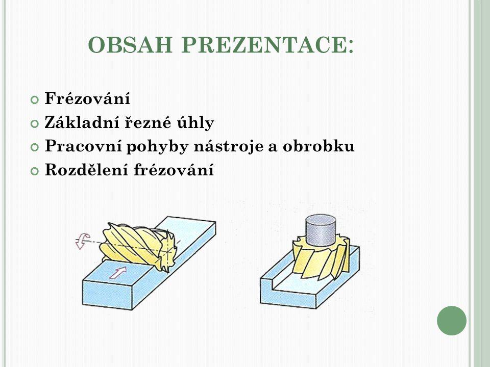 OBSAH PREZENTACE : Frézování Základní řezné úhly Pracovní pohyby nástroje a obrobku Rozdělení frézování