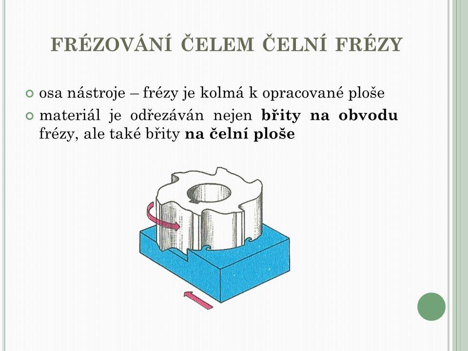 FRÉZOVÁNÍ ČELEM ČELNÍ FRÉZY osa nástroje – frézy je kolmá k opracované ploše materiál je odřezáván nejen břity na obvodu frézy, ale také břity na čeln