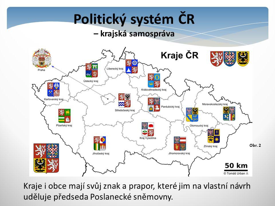 Politický systém ČR – krajská samospráva Kraje i obce mají svůj znak a prapor, které jim na vlastní návrh uděluje předseda Poslanecké sněmovny. Obr. 2