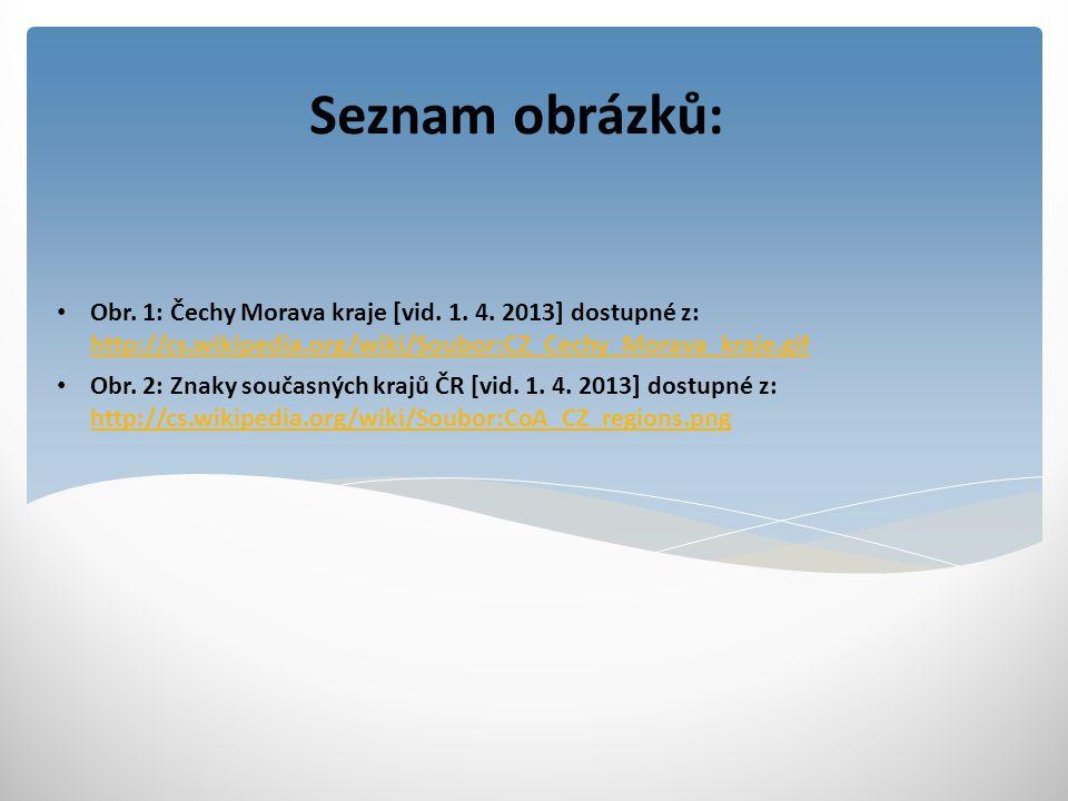 Seznam obrázků: Obr. 1: Čechy Morava kraje [vid. 1. 4. 2013] dostupné z: http://cs.wikipedia.org/wiki/Soubor:CZ_Cechy_Morava_kraje.gif http://cs.wikip