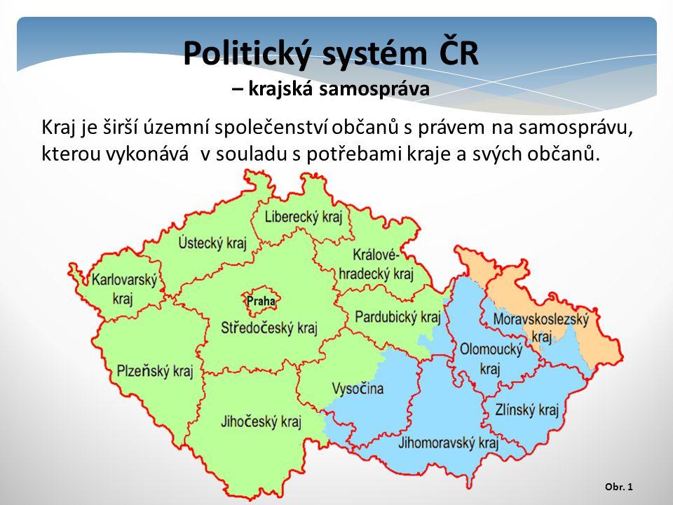 Politický systém ČR – krajská samospráva Kraj je širší územní společenství občanů s právem na samosprávu, kterou vykonává v souladu s potřebami kraje