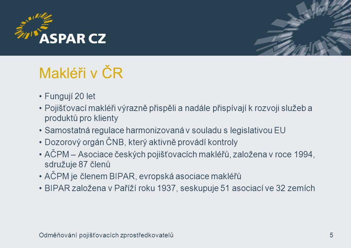 Makléři v ČR Fungují 20 let Pojišťovací makléři výrazně přispěli a nadále přispívají k rozvoji služeb a produktů pro klienty Samostatná regulace harmo