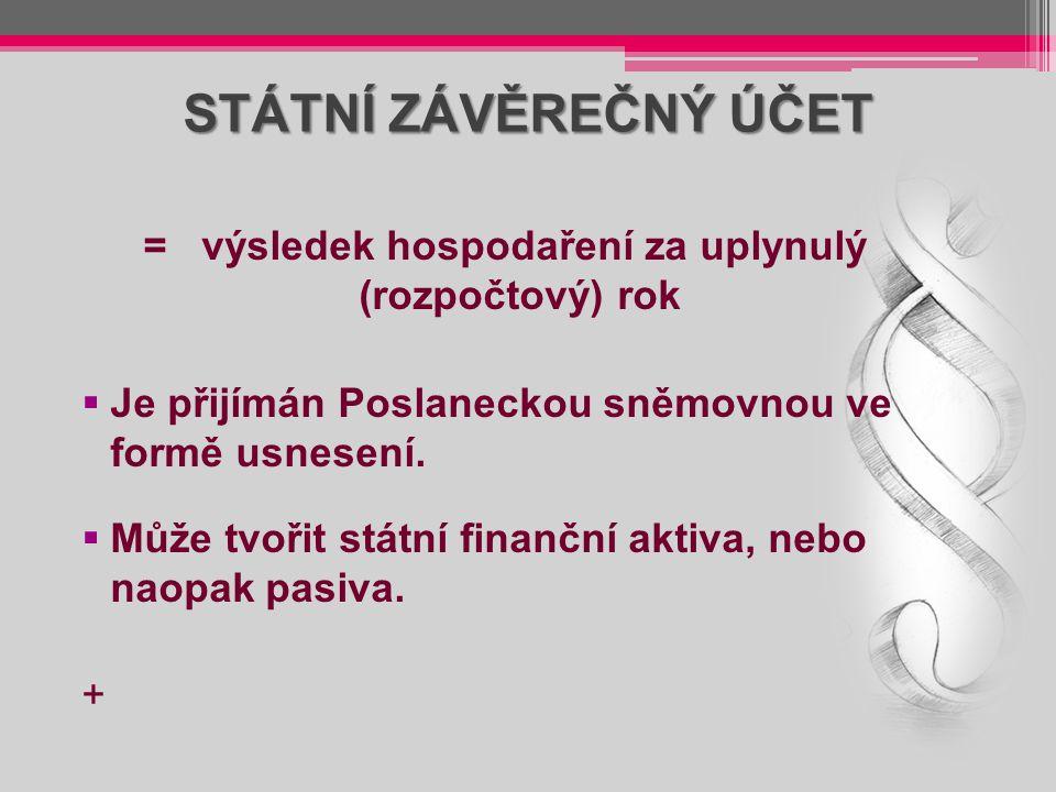 STÁTNÍ ZÁVĚREČNÝ ÚČET = výsledek hospodaření za uplynulý (rozpočtový) rok  Je přijímán Poslaneckou sněmovnou ve formě usnesení.  Může tvořit státní