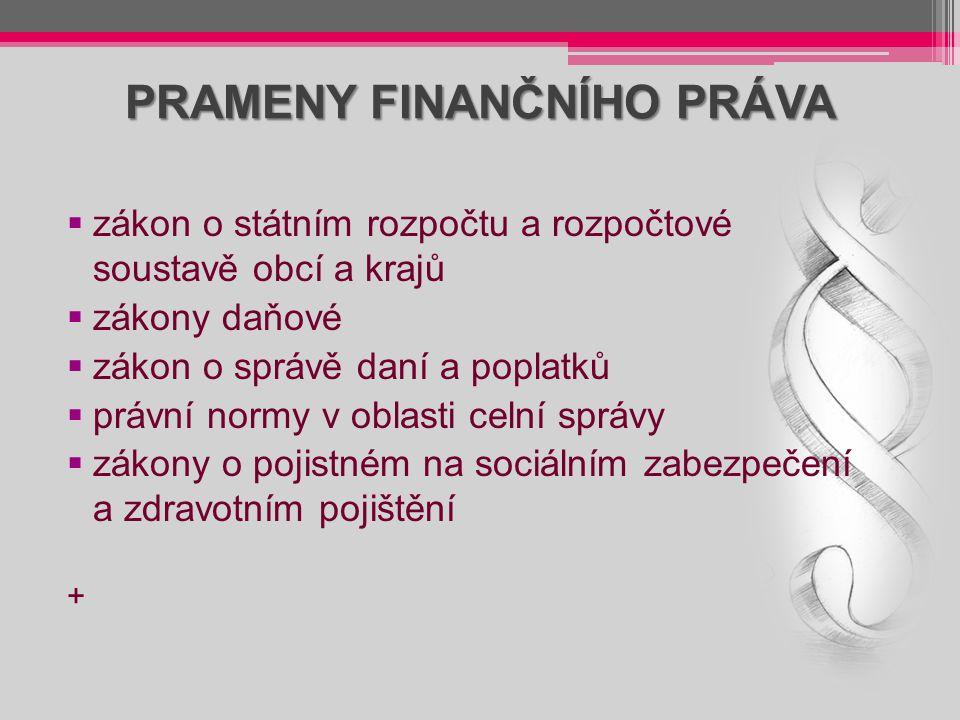 PRAMENY FINANČNÍHO PRÁVA  zákon o státním rozpočtu a rozpočtové soustavě obcí a krajů  zákony daňové  zákon o správě daní a poplatků  právní normy