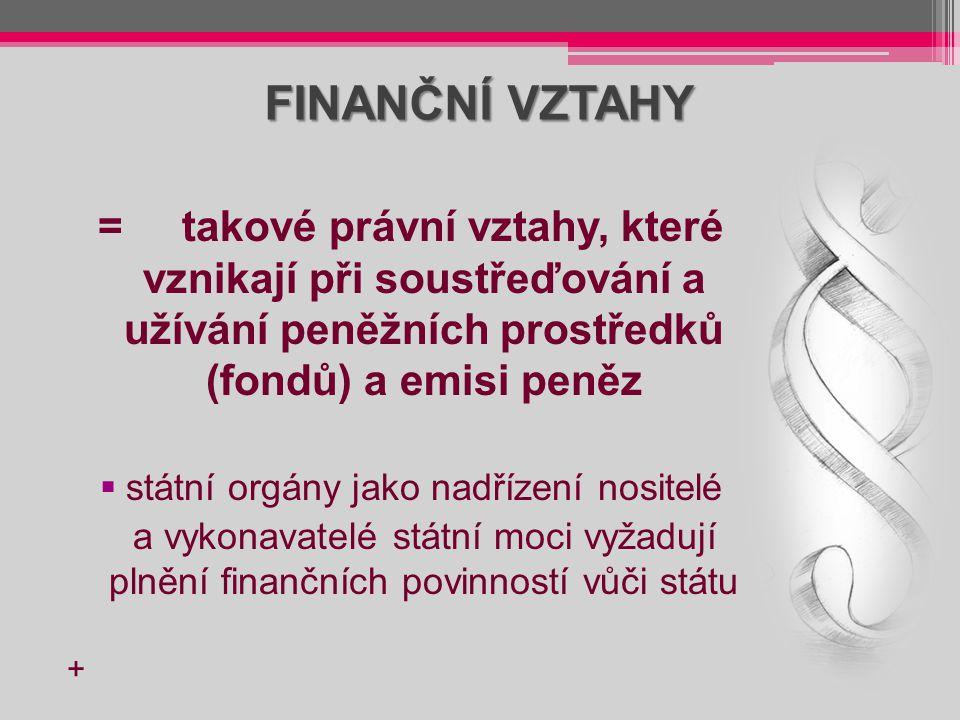 FINANČNÍ VZTAHY = takové právní vztahy, které vznikají při soustřeďování a užívání peněžních prostředků (fondů) a emisi peněz  státní orgány jako nad