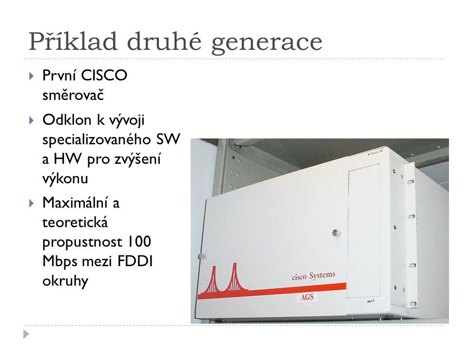 Příklad druhé generace  První CISCO směrovač  Odklon k vývoji specializovaného SW a HW pro zvýšení výkonu  Maximální a teoretická propustnost 100 M