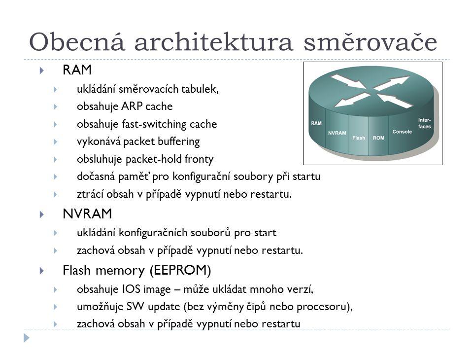 Obecná architektura směrovače  RAM  ukládání směrovacích tabulek,  obsahuje ARP cache  obsahuje fast-switching cache  vykonává packet buffering  obsluhuje packet-hold fronty  dočasná paměť pro konfigurační soubory při startu  ztrácí obsah v případě vypnutí nebo restartu.