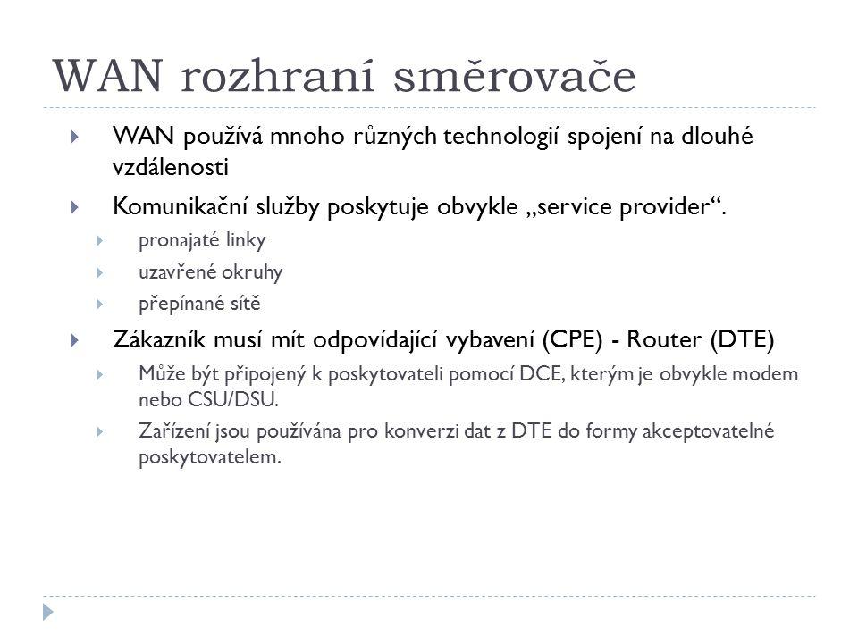 """WAN rozhraní směrovače  WAN používá mnoho různých technologií spojení na dlouhé vzdálenosti  Komunikační služby poskytuje obvykle """"service provider"""""""