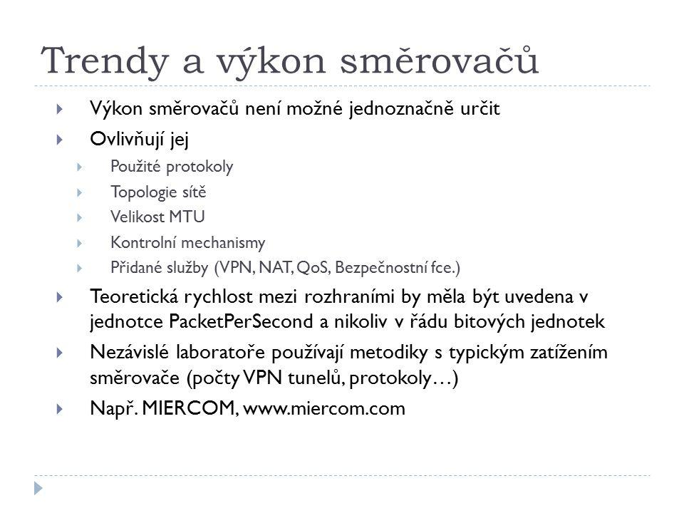 Trendy a výkon směrovačů  Výkon směrovačů není možné jednoznačně určit  Ovlivňují jej  Použité protokoly  Topologie sítě  Velikost MTU  Kontrolní mechanismy  Přidané služby (VPN, NAT, QoS, Bezpečnostní fce.)  Teoretická rychlost mezi rozhraními by měla být uvedena v jednotce PacketPerSecond a nikoliv v řádu bitových jednotek  Nezávislé laboratoře používají metodiky s typickým zatížením směrovače (počty VPN tunelů, protokoly…)  Např.