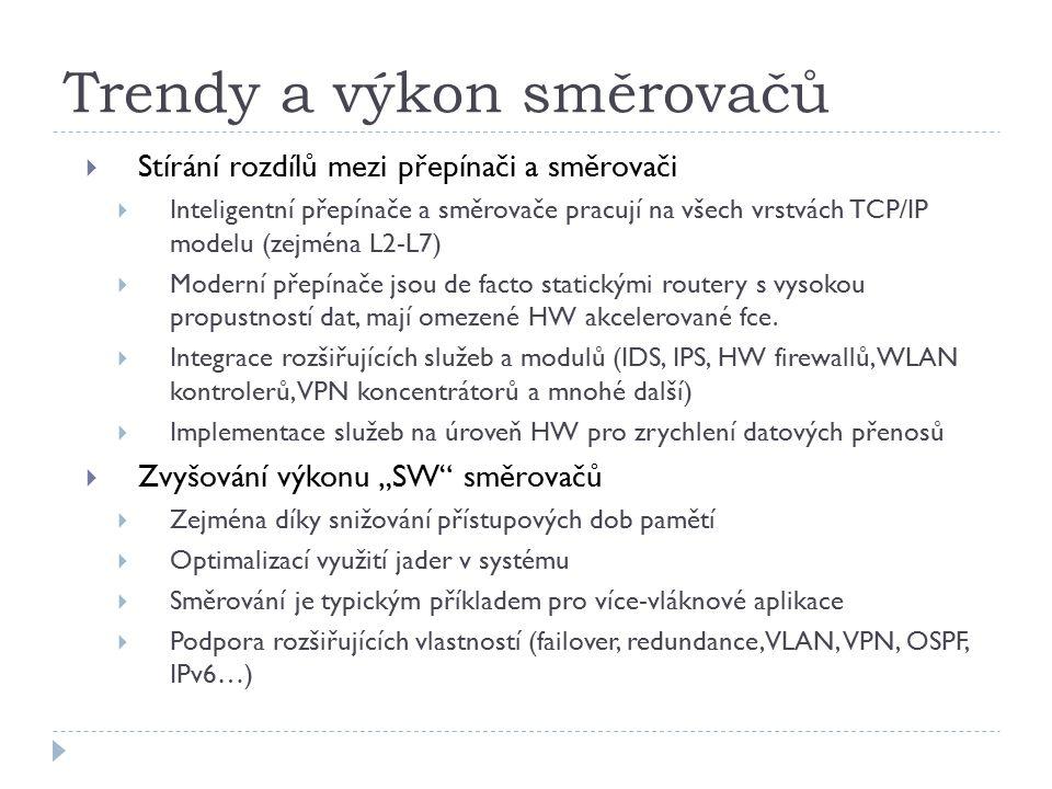 Trendy a výkon směrovačů  Stírání rozdílů mezi přepínači a směrovači  Inteligentní přepínače a směrovače pracují na všech vrstvách TCP/IP modelu (zejména L2-L7)  Moderní přepínače jsou de facto statickými routery s vysokou propustností dat, mají omezené HW akcelerované fce.