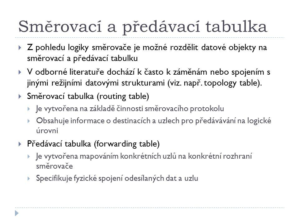 Směrovací a předávací tabulka  Z pohledu logiky směrovače je možné rozdělit datové objekty na směrovací a předávací tabulku  V odborné literatuře do