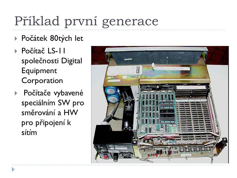 Příklad první generace  Počátek 80tých let  Počítač LS-11 společnosti Digital Equipment Corporation  Počítače vybavené speciálním SW pro směrování a HW pro připojení k sítím