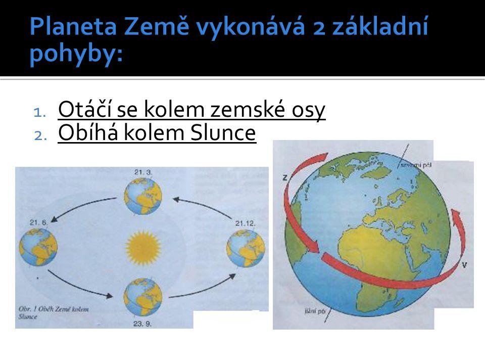1. Otáčí se kolem zemské osy 2. Obíhá kolem Slunce